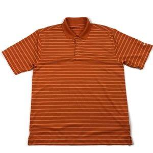 Nike Golf Orange Striped Polo Shirt Men's Medium